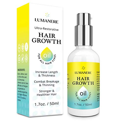 Lumanere Hair Growth Serum Hair Growth Oil with Caffeine and Biotin – Natural Hair Growth Accelerator for Stronger, Thicker, Longer Hair for Men and Women 1.7 Oz