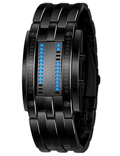 Classic Mens Women Binary Square Blue LED Digital Waterproof Watch Black Plated Wrist Watches (Black)