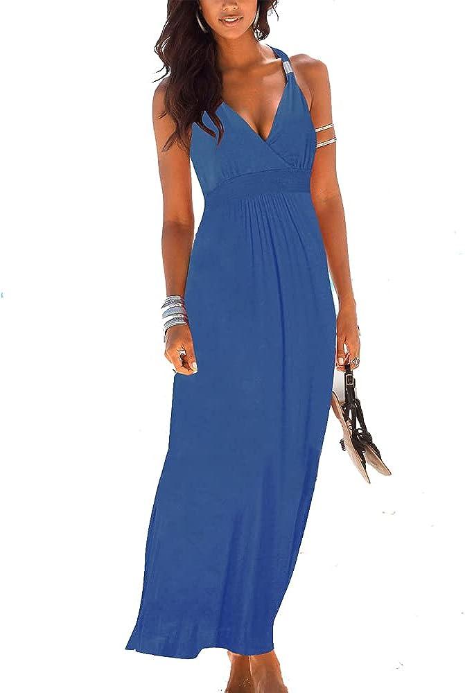 Jusfitsu Women's Summer Casual Maxi Dresses Loose Sleeveless Long Dress Floor Length High Waist Sundresses