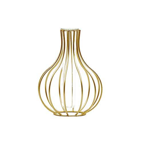 ZZMUK Vaso de tubo de hierro minimalista jarrón de metal decoración florero de cristal Establecimiento de la flor del ornamento Oro