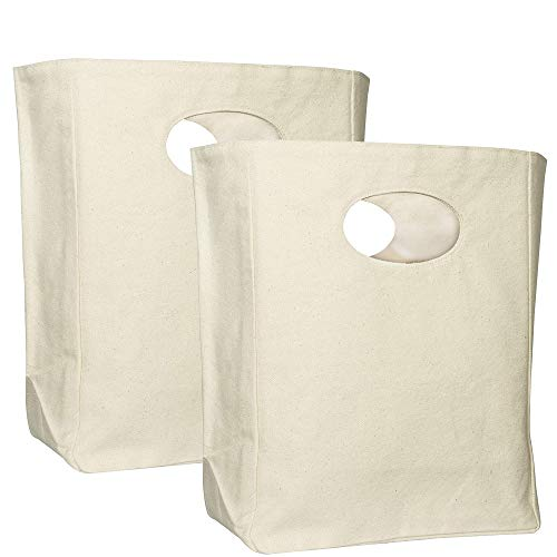 Organic Cotton Canvas Lunch Bag - Eco Friendly & Machine Washable | Perfect for Men, Women & Kids | Reusable Lunch Tote for Work, School - Easy to Clean Water Resistant (White - 2 Pack)