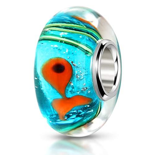 MATERIA Muranoglas Beads Anhänger türkis orange - 925 Silber Beads Fische Meer für European Beads Armband #1514