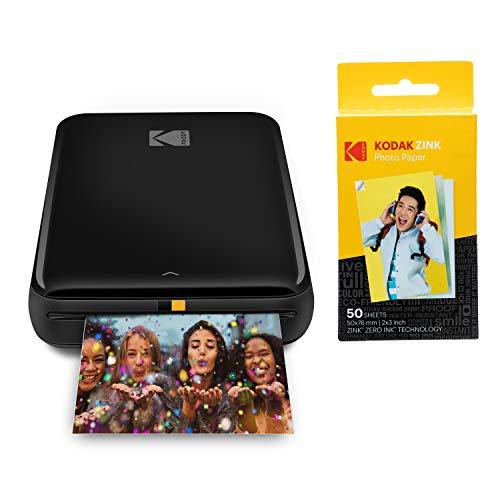 KODAK Step Instant Printer | Bluetooth/NFC Wireless Photo Printer with ZINK Technology & KODAK App for iOS & Android (Black) Prints 2x3 Inch Sticky-Back Photos + Kodak Zink Photo Paper - Pack of 50