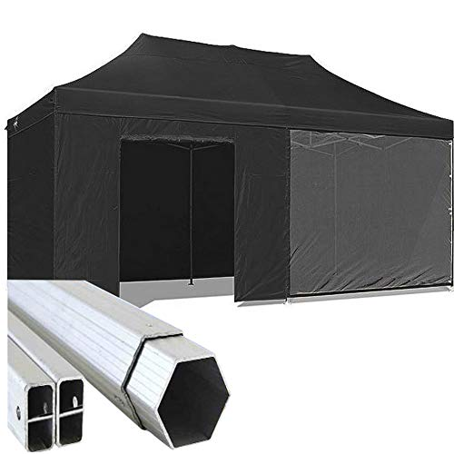 Gazebo Nero 6x3 Pieghevole Eventi Alluminio a Forbice Ombrello 3x6 Professionale mercati piantone Esagonale 45mm Stand tendone chiosco