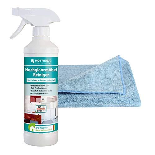 HOTREGA Hochglanzmöbel Reiniger 500 ml inkl. Microfasertuch, Möbelreiniger, streifenfrei, Anti-Fingerprint