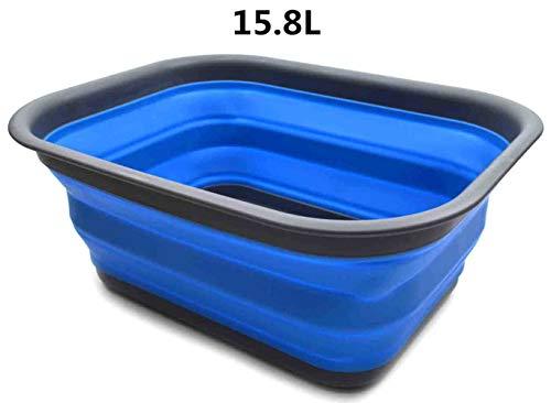 SAMMART 15L Faltbare Badewanne - Tragbarer Picknickkorb/Krater - Faltbare Einkaufstasche - Platzsparender Aufbewahrungsbehälter (Grau/Blau (L))