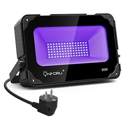 ONFORU 80W UV LED Schwarzlicht mit Lüfter, UV Strahler LED Flutlicht mit Lichteffekt, IP66 Wasserdicht Schwarzlichtlampe mit EU Stecker,...