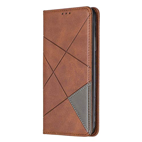 Samsung Galaxy A42 Case,PU Leather Flip Case Notebook Wallet ShockProof Cover with Kickstand Magnetic Stand Card Holder ID Slots Soft TPU Bumper Protective Skin Case,Brown