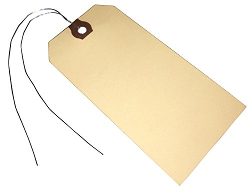 Amram Wired Shipping Tags and Hang Tags, 4 3/4-in x 2 3/8-in, 100 Tags, Manila with Reinforced Eyelet