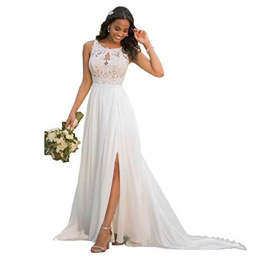 Nanger Damen Hochzeitskleider Standesamt Lang mit Schlitz Spitze Chiffon Brautkleider Strand Weiß 38