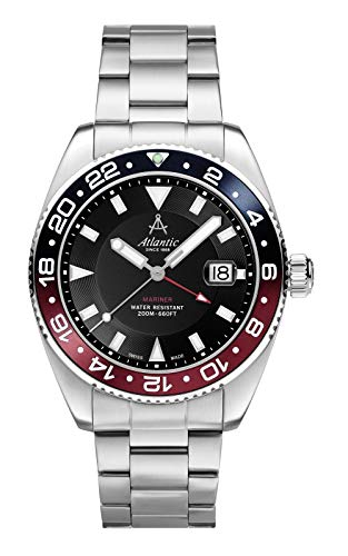 Atlantic- Sportuhr, Herren, GMT, Quarz - 419043 (Metall, Silber)