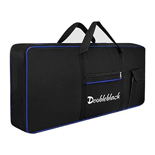 Doubleblack Keyboardtasche fuer 61 Tasten Keyboard Tasche Gepolstert Tragetasche Digital E Piano Tastatur Klavier Abdeckung Bag Huelle 600D Oxford Stoff Wasserdicht Schwarz (Blauer Linie)