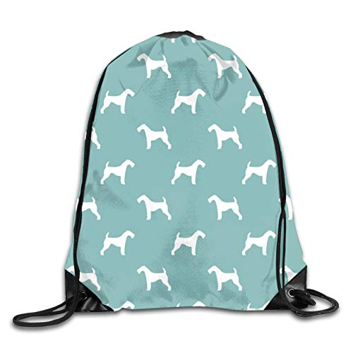 Nother Dog Silhouette - Gulf Blue Drawstring Backpack Bags Polyester Cinch Sacks String for School,Travel,Gym,Yoga