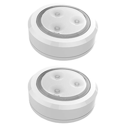Brilliant Evolution BRRC113 Ultra Thin Wireless LED Puck Light 2 Pack | LED Under Cabinet Lighting | Closet Light | Battery Powered Lights | Under Counter Lighting | Stick On Tap Light