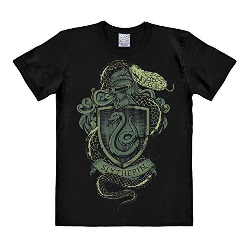 Logoshirt Harry Potter - Escudo - Slytherin Logo - Serpiente Camiseta Hombre - Negro - Diseño Original con Licencia