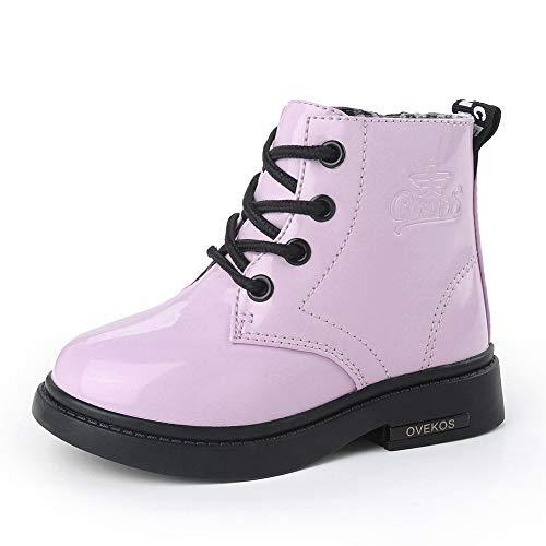 Bebe Botines Niña Cuero Botas Niña Zapatos de Invierno para Niñas Niños Calentar Impermeable Antideslizante para Interior Intemperie, Talla 25 EU, Rosa
