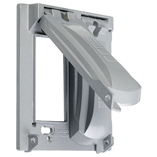 Hubbell-Bell MX2050S Two Gang Two Device Flat Metal Weatherproof Receptacle Cover, Grey