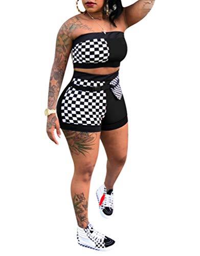 Remelon Women Sexy Plaid Print Tube Crop Top Belt Shorts Set 2 Piece Outfits Romper Jumpsuits Black L