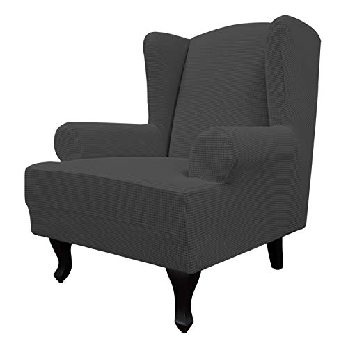 Easy-Going Stretch Wingback Chair Sofa Slipcover 1-Piece Sofa Cover Furniture Protector Couch Soft with Elastic Bottom, Spandex Jacquard Fabric Small Checks(Large,Dark Gray)