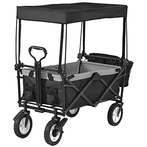 Folding Camping Cart Garden Wagon 4 Wheeled Collapsible Festival Trolley Romovable Canopy, Portable Beach Cart with Side Pocket Cup Holders Carry Bag - 150KG Capacity(Black)