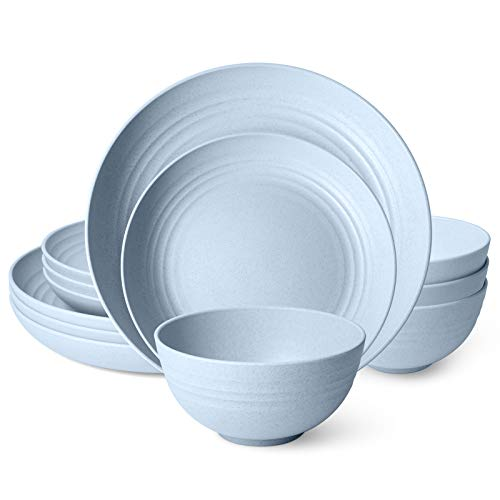 Peurif Kitchen Wheat Straw Dinnerware Set Dinner Plates Dessert Plate Cereal Bowls Unbreakable Reusable Blue Service for 4 12 pieces