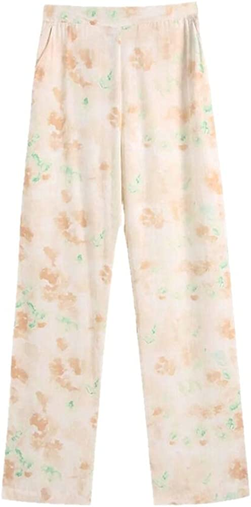 NP Summer Women Tie Dye Print Straight Pants Casual Lady Loose High Waist Trousers