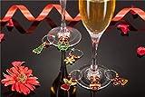 COSORO Weihnachten Tischdeko Kits-30 Fun Weihnachten Glas Dekorationen,6 Xmas Socken Bestecktasche Besteckhalter Taschen,6 Weinglas Charms Marker,1 Pack Xmas Confetti - 2