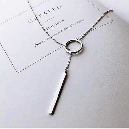Ybyifs Collar de cadena larga con diseño de tiras circulares