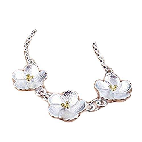 One Life - Collar de plata de ley con tres Sakura