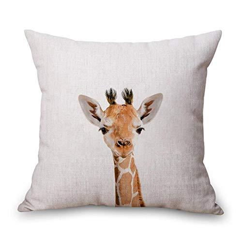 Ving Rabbit Bear Tiger Deer Panda Neck Body Kussensloop Linnen Bed Reiskussens Cover Couch Zitkussen Sierkussen Woondecoratie, Oranje, 45X45cm kussensloop