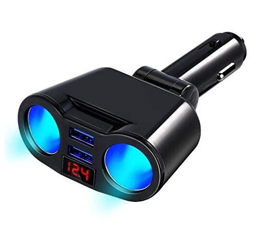 Riloer Cargador de coche multifunción con pantalla digital dual USB 3.1A, adaptador de cargador de teléfono móvil, enchufe de encendedor de cigarrillos, negro