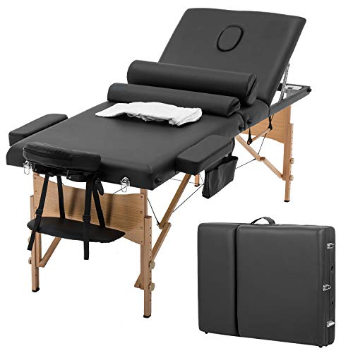 BMS Massage Bed Spa Bed Massage Table Salon Tattoo Bed Heigh Adjustable 3 Fold 84' Massage Table W/Sheet Cradle Cover 2 Bolster Hanger Portable Facial, Black