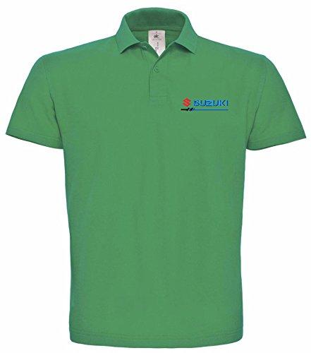 avstickerei Polo bestickte SUZUKI Fun Poloshirt, verschiedene Farben, super Premium-Qualität, 100% Baumwolle (XL, Grün)