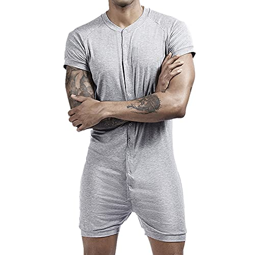 Deporte Hombres Trajes De Los Hombres Pijamas Conjoined Convexo Traje De Algodón Masculino De Manga Corta Ropa, gris, XX-Large