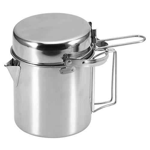 Lixada roestvrij stalen watermok beker 750 ml met opvouwbare handgrepen en deksel/camping hangende pan met stomen gerechten voor kamperen wandelen koken picknick