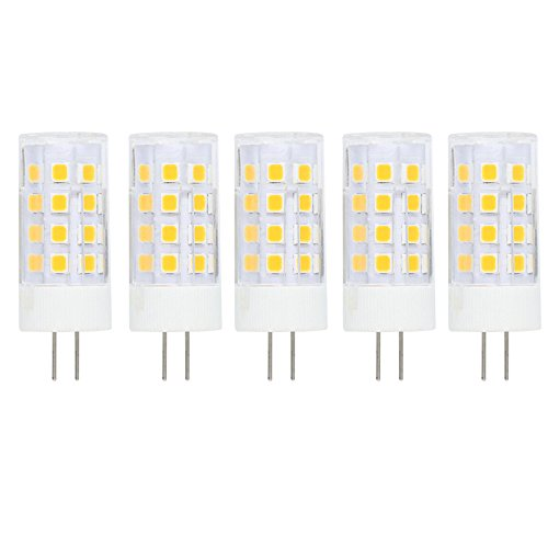 G4 Bombilla de LED de 5W,400lm,Blanco Cálido 3000K,Recambio de 40 Vatios,Ángulo de Haz de 360°,12V AC/DC,No Regulable Pack de 5