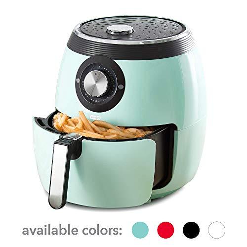 Dash DFAF455GBAQ01 Deluxe Electric Air Fryer + Oven Cooker with Temperature Control, Non Stick Fry Basket, Recipe Guide + Auto Shut Off Feature 6 qt Aqua (Renewed)