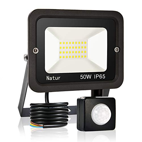 50W LED Foco Exterior con Sensor Movimiento, bapro Proyector LED Impermeable IP65 Floodlight LED Foco Blanco Cálido 3000K Exterior Iluminación para Patio, Almacén, Camino, Jardín