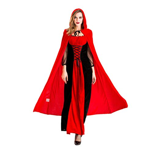 Amosfun Queen Kostüm Kleid mit Kapuze Mantel, Mesh-Ärmel, Gothic-Kleid für Erwachsene Frauen Halloween Performance Dress Up Supplies Gr. XL, Picture 1