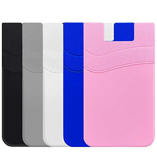 SHANSHUI Phone Card Holder, Phone Wallet Stick on Business Card Holder Pocket Compatible with iPhone 11 Pro,Samsung Galaxy S10 and Most Smartphones (Multi-Colors-5pcs)
