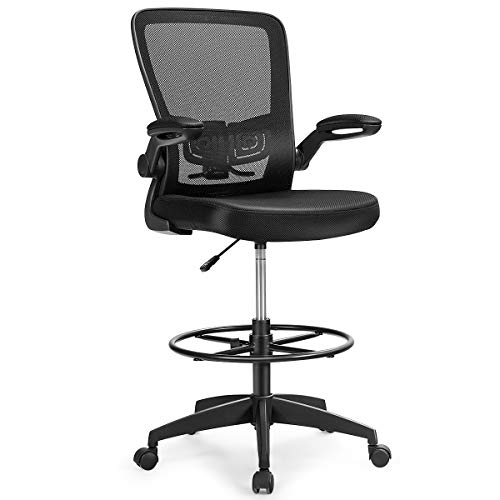 Giantex Drafting Chair High Back Office Chairs Height Adjustable Executive Desk Chair Ergonomic Mesh Computer Task Chair Lumbar Support Swivel Rolling Stool with Footrest Ring Flip-Up Armrest