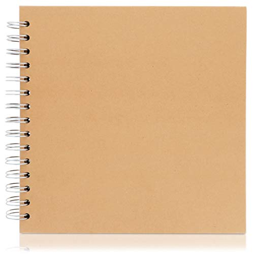 Paper Junkie Hardcover Kraft Blank Page Scrapbook Photo Album, 40 Sheets, 8 x 8 Inches