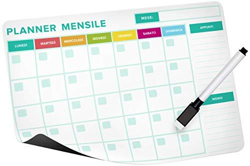 Magnético calendario mensual flexible (31 cm x 25 cm), Appuntos & Memo – campos especiales + rotulador de borrado en seco con tapa magnética, planificador frigorífico.