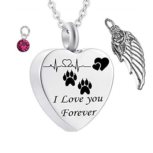 UGBJ Colgantes para Cenizas Pet Paw Memorial Ceniza Collar con alas de ángel y Collar de la urna de la cremación del Encanto de la Piedra de Nacimiento para la joyería del Gato Memorial de Ash