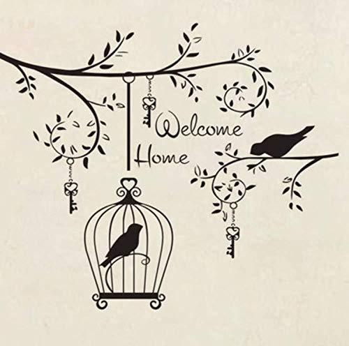 Willkommen Zu Hause Wandaufkleber Tattoo, Vogelkäfig Aufkleber Auf Baum, Dekoration Aufkleber Wandaufkleber 50X43cm