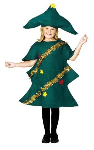 Smiffys-28264S Disfraz de árbol de Navidad, con túnica y Gorro, Color Verde, S-Edad 4-6 años (Smiffy'S 28264S)