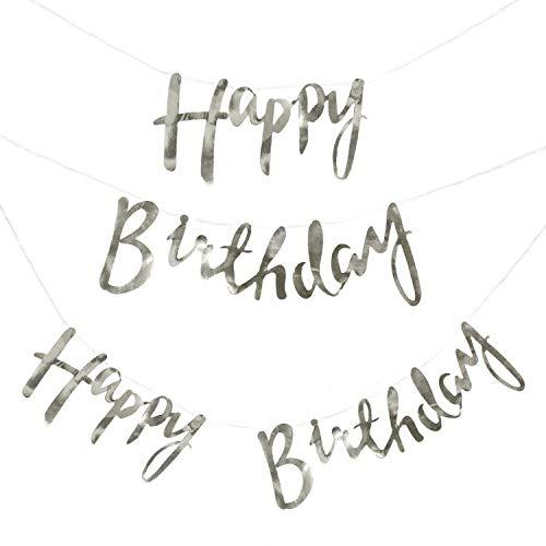 Oblique Unique® Happy Birthday Girlande Banner Hängedeko 1,5m in Silber für Geburtstag Party Feier Deko Geburtstagsdeko