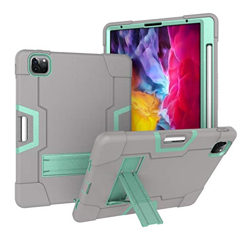 Jaorty 3 in 1 Hybrid [Soft&Hard] Heavy Duty Rugged Stand Cover Shockproof Anti-Scratch + Apple Pencil Charging Protective Cases for iPad Pro 11 Inch 2020/2018 with Pencil Holder,Gray/Green