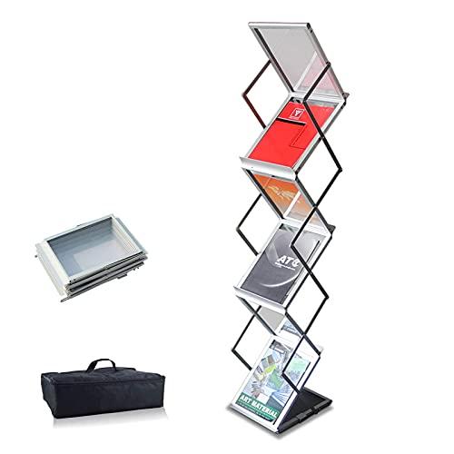 Expositor de folletos plegable,6 x A4 de aluminio/acrílico,Incluye Bolso oxford,Soporte para folletos...