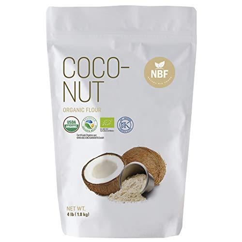 NBF Organic Coconut Flour 4LB (64 Oz) Gluten Free Non-GMO Vegan Keto Paleo Friendly Baking Flour